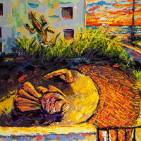 Sunset 21 | Fish & Lizard, painting by Spence Munsinger