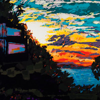 Sunset 16 | House Reflected, painting by Spence Munsinger