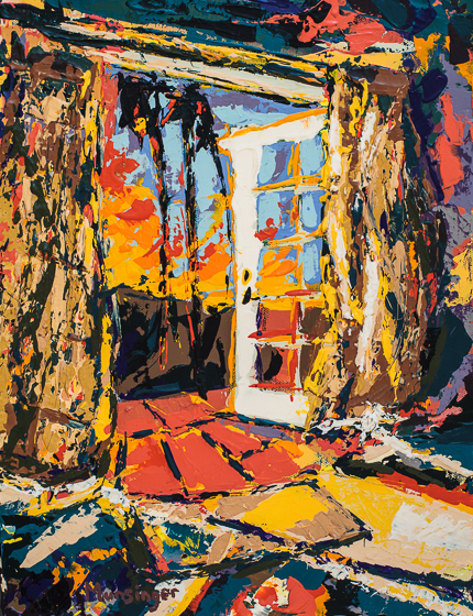 A Painting A Day | Patio Santa Barbara, painting by Spence Munsinger, color fields + realism + contemporary abstract art