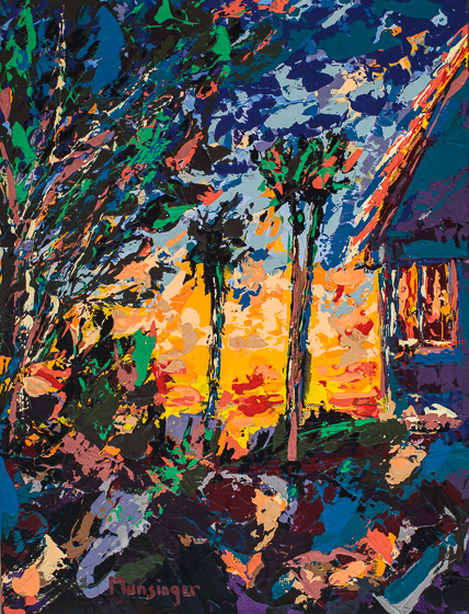A Painting A Day | Sun Behind House, acrylic painting by Spence Munsinger, color fields + realism + contemporary abstract art