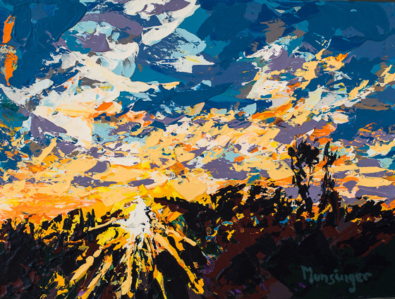 Sunset Over Butterfly Bluff, acrylic painting by Spence Munsinger