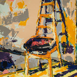 A Painting A Day 1 | Chair in the Sun, painting by Spence Munsinger, color fields + realism + contemporary abstract art