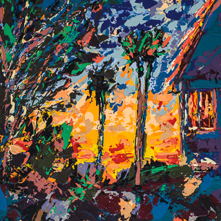 A Painting A Day 5 | Sun Behind House, painting by Spence Munsinger, color fields + realism + contemporary abstract art