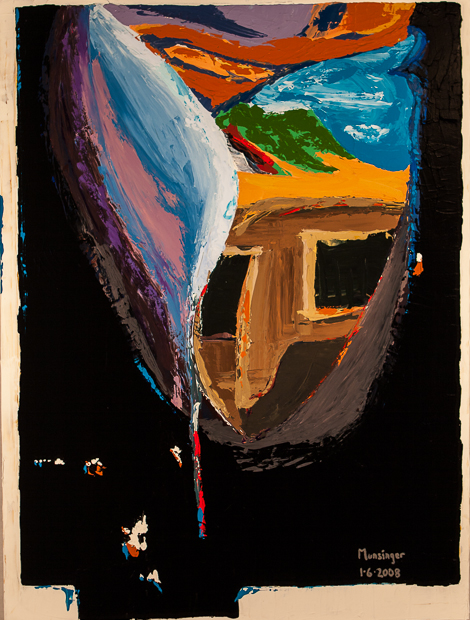 Film Strip, abstract painting by Spence Munsinger of distorted view from mishandled slide film image