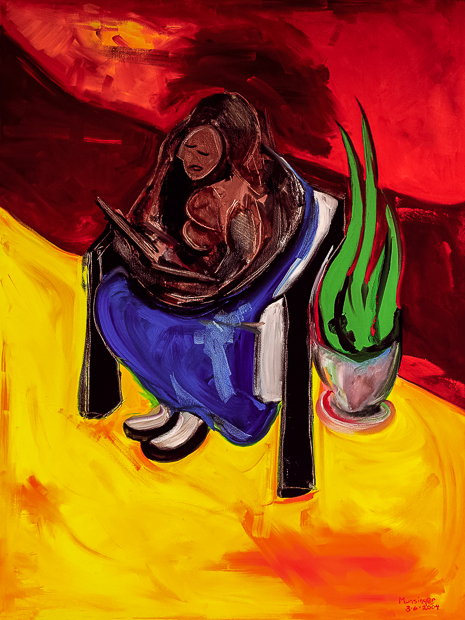 Girl Reading in Hall, abstract portrait painting by Spence Munsinger