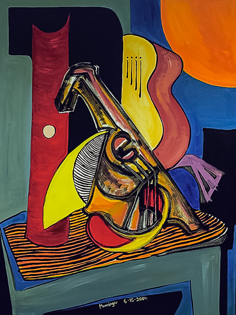 Guitar, Mandolin, and Flute, cubist abstract oil painting by Spence Munsinger