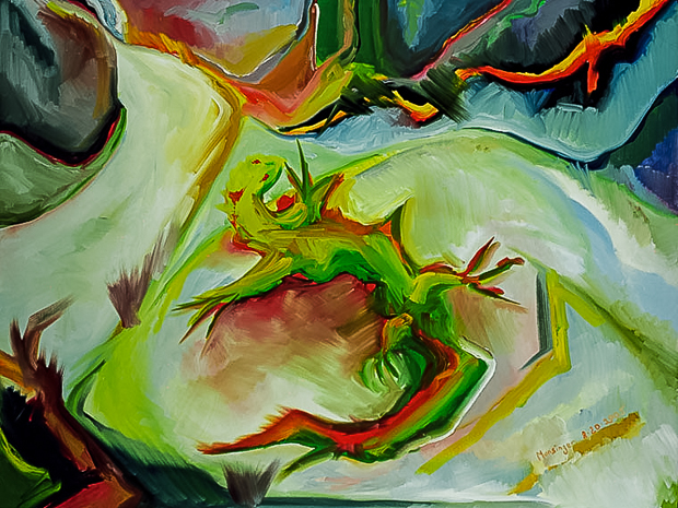 Lizard, oil painting by Spence Munsinger