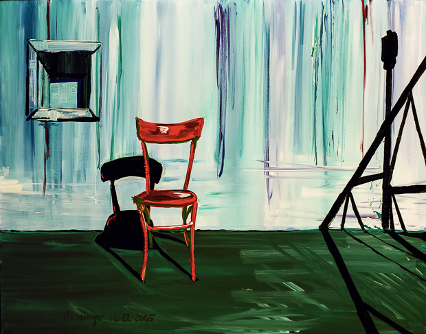 Red Chair on Roof, painting by Spence Munsinger