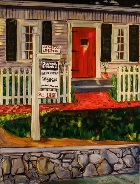 Sale Pending, painting by Spence Musninger, sale pending sign outside a forlorn New England suburban house in 2004