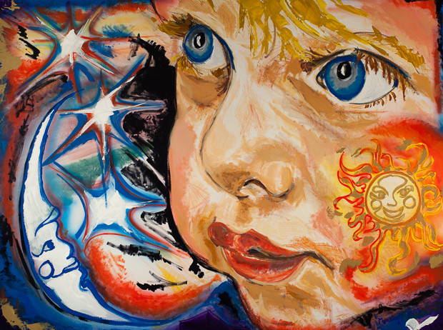 Sun, Moon, and Stars in His Eyes, painting by Spence Munsinger