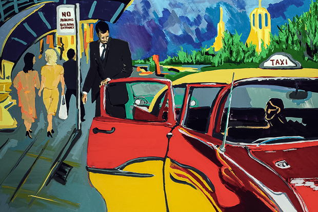 Taxi, 1954, painting by Spence Munsinger of Taxi at the Curb in New York
