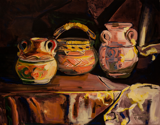 Three Pots, Still Life painting by Spence Munsinger