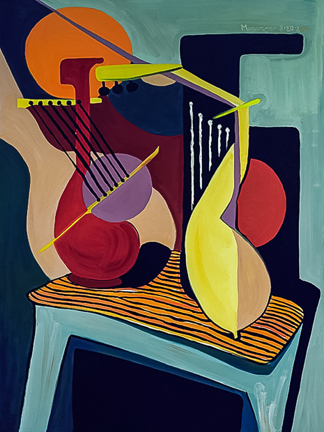 Two Guitars, cubist abstract oil painting by Spence Munsinger