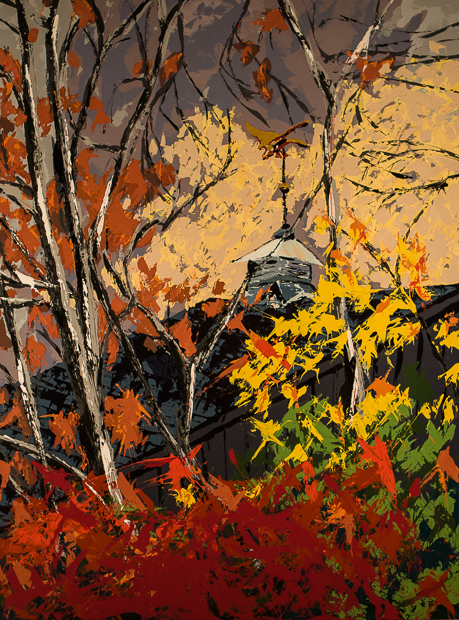 Weathervane, paiting by Spence Munsinger, brass goose flying above autumn colors