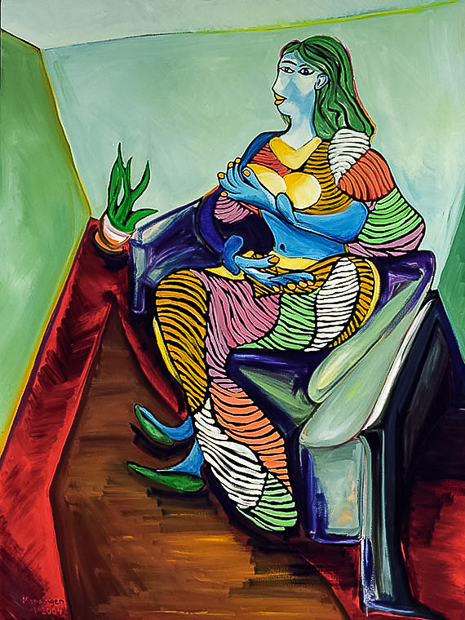 Woman on Couch, 1934, abstract painting by Spence Munsinger