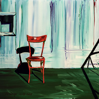 Past Works | Red Chair on Roof, painting by Spence Munsinger, color fields + realism + contemporary abstract art
