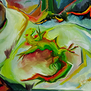 Past Works | Lizard, painting by Spence Munsinger, color fields + realism + contemporary abstract art