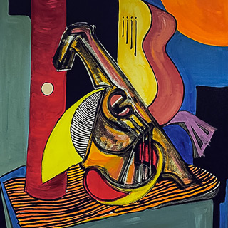 Past Works | Guitar, Mandolin, and Flute, painting by Spence Munsinger, color fields + realism + contemporary abstract art