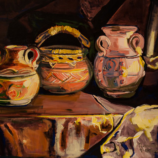 Past Works | Three Pots (Stillife), painting by Spence Munsinger, color fields + realism + contemporary abstract art