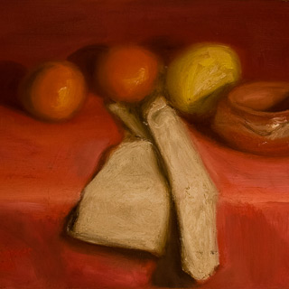 Past Works | Bowl and Kerchief, painting by Spence Munsinger, color fields + realism + contemporary abstract art