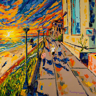 Sunset 10 | Along the Strand, painting by Spence Munsinger, color fields + realism + contemporary abstract art