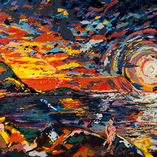 Sunset 11 | Moonlight and Sunset, painting by Spence Munsinger, color fields + realism + contemporary abstract art