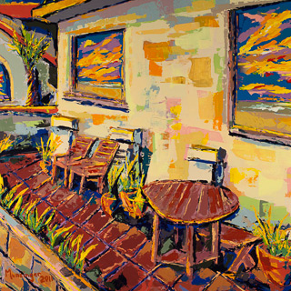 Sunset 12 | Spanish Patio, painting by Spence Munsinger, color fields + realism + contemporary abstract art