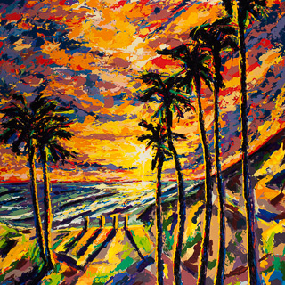Sunset 13 | Palms, painting by Spence Munsinger, color fields + realism + contemporary abstract art