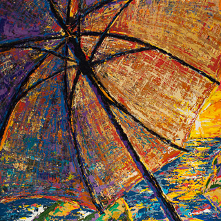 Sunset 14 | Beneath the Umbrella, painting by Spence Munsinger, color fields + realism + contemporary abstract art