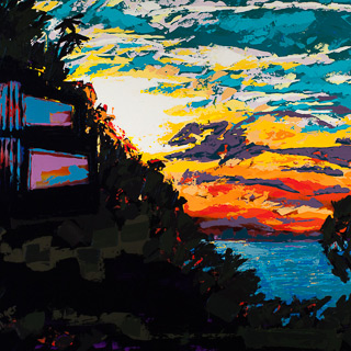 Sunset 16 | House Reflected, painting by Spence Munsinger, color fields + realism + contemporary abstract art