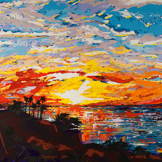 Sunset 17 | Palos Verdes, painting by Spence Munsinger, color fields + realism + contemporary abstract art