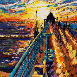 Sunset 18 | Pier, painting by Spence Munsinger, color fields + realism + contemporary abstract art