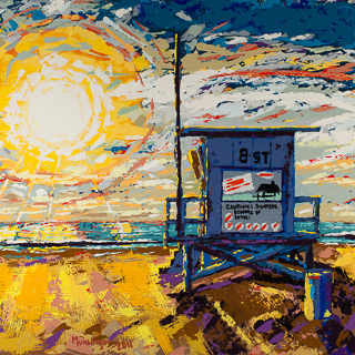 Sunset 19 | 8th Street Lifeguard Tower, painting by Spence Munsinger, color fields + realism + contemporary abstract art