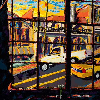 Sunset 20 | Street Through the Window, painting by Spence Munsinger, color fields + realism + contemporary abstract art