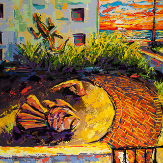 Sunset 21 | Fish and Lizard, painting by Spence Munsinger, color fields + realism + contemporary abstract art