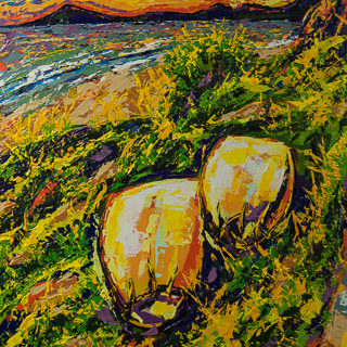 Sunset 22 | Two Boards by the Path, painting by Spence Munsinger, color fields + realism + contemporary abstract art