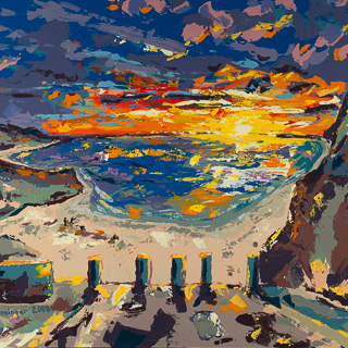 Sunset 2 | 9th Street Del Mar, painting by Spence Munsinger, color fields + realism + contemporary abstract art