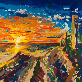 Sunset 3 | 4th Street Del Mar, painting by Spence Munsinger, color fields + realism + contemporary abstract art