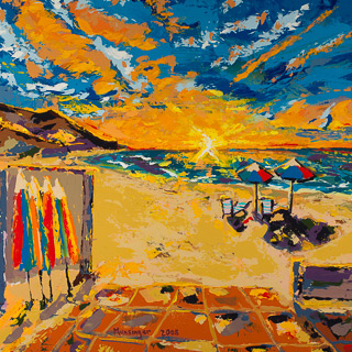 Sunset 4 | Patio Solana Beach, painting by Spence Munsinger, color fields + realism + contemporary abstract art