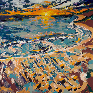 Sunset 5 | Patio Off PCH, painting by Spence Munsinger, color fields + realism + contemporary abstract art