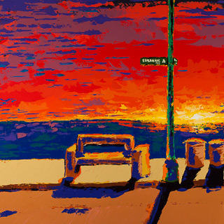 Sunset 6 | Esplanade, painting by Spence Munsinger, color fields + realism + contemporary abstract art