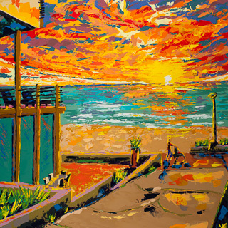 Sunset 9 | Manhattan Beach, painting by Spence Munsinger, color fields + realism + contemporary abstract art