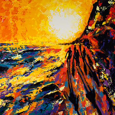 Sunset 24 | Butterfly Beach, painting by Spence Munsinger, color fields + realism + contemporary abstract art