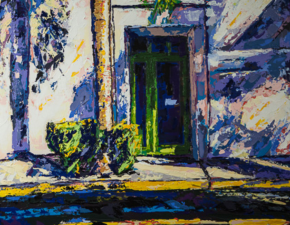 Sunset 23   Off State Street, painting by Spence Munsinger, color field + realism + contemporary abstract art