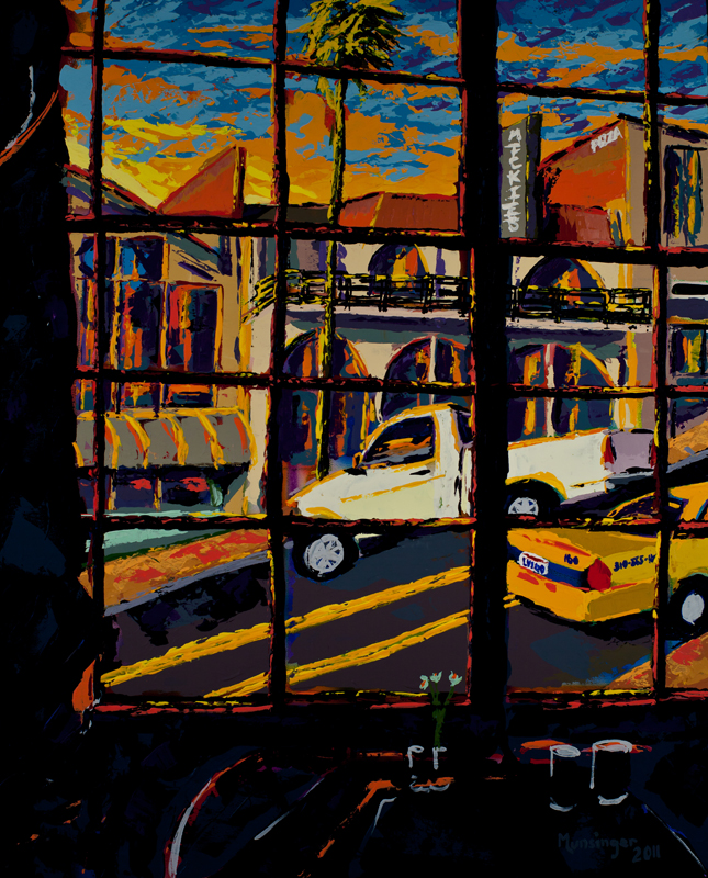 Sunset 20 street through the window original painting for Rock n fish restaurant