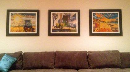 Prints by Spence Munsinger in house in Santa Barbara